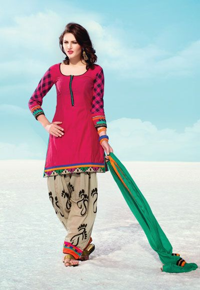 USD 101.76 Pink Silk Resham Work Punjabi Salwar Kameez  34227