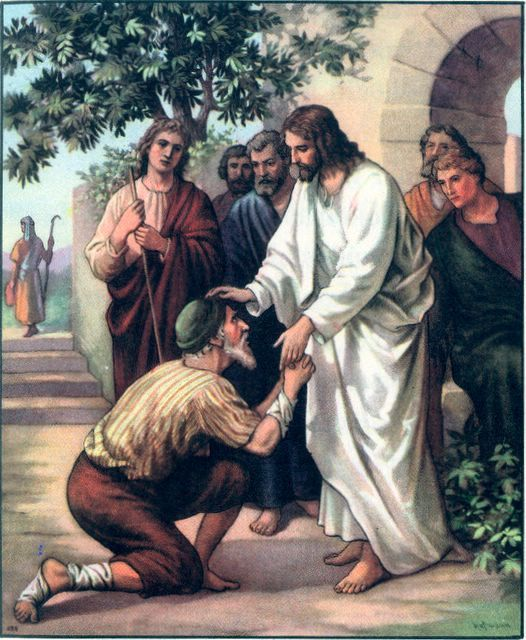 "Matthew 8: 1-4  When Jesus came down from the mountainside, large crowds followed him. A man with leprosy came  and knelt before him and said.""Lord, if you are willing, you can make me clean."""