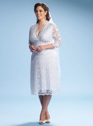 Robe de mariée grande taille v-cou à manches mi-longue en dentelle