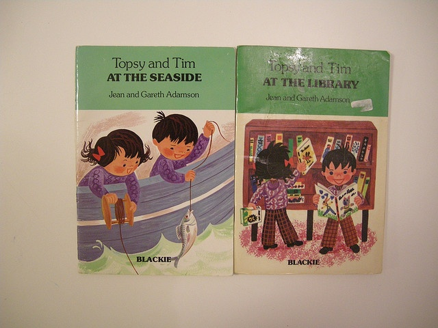 Topsy and Tim at the seaside and at the library