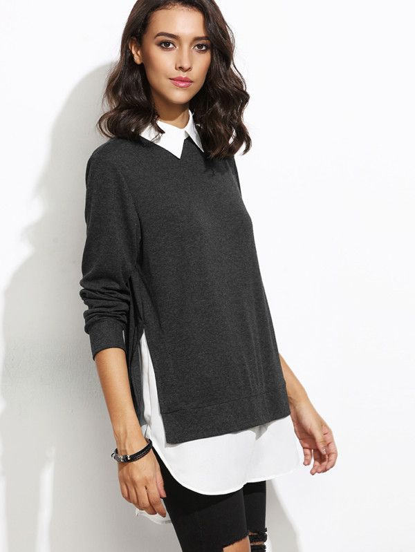 Shop Contrast Collar Curved Hem 2 In 1 Pullover online. SheIn offers Contrast Collar Curved Hem 2 In 1 Pullover & more to fit your fashionable needs.