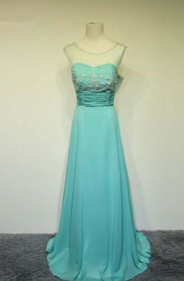 Mint Green Ball Dress Crystal Beaded Chiffon Party evening dress custom wedding dress to form
