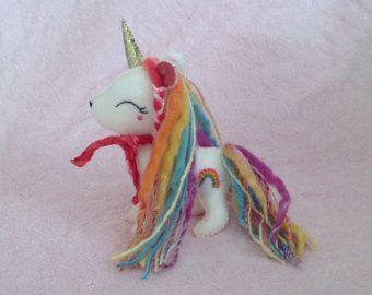 CUSTOM FOR LISA ~ Fancy Rainbow Unicorn, Felt Unicorn, Plush Unicorn Doll, Adult Unicorn Ornament, Christmas Gift, Cute and Kawaii