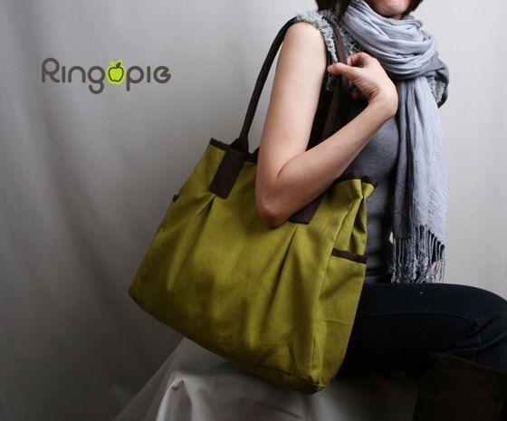 Christmas Sale-Ready To Ship-Green and Brown Piping Canvas Tote Bag/shoulder bag/handbag/purse/laptop/women/For Her -044