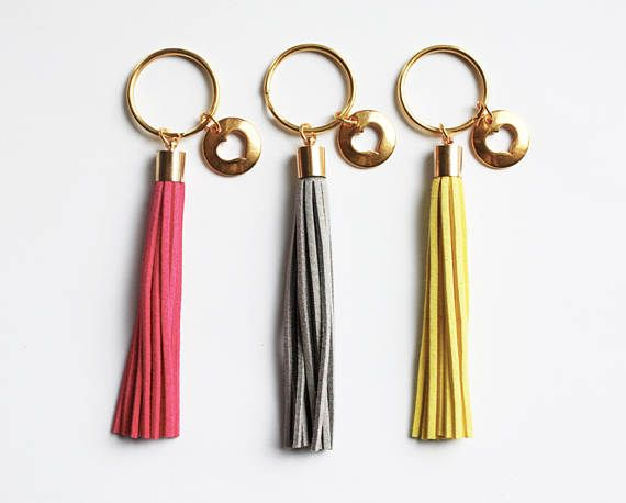 Heart Charm - Tassel Keychain - Pink - Grey - Yellow - Moving Present - Love Gift - Valentine's Day - For Her - Boho Accessories - Faux Suede - Bohemian Style
