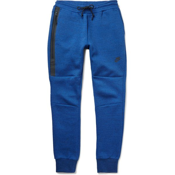 Nike Tech Fleece Cotton-Blend Jersey Sweatpants (305.930 COP) ❤ liked on Polyvore featuring mens, men's clothing, men's activewear, men's activewear pants, men en blue