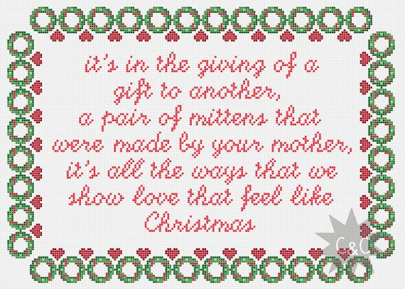 Muppet Christmas Carol song lyrics cross stitch by CapesAndCrafts, £2.30