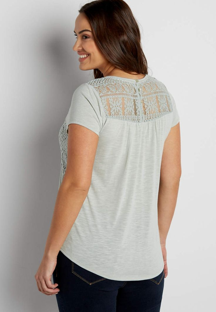 plus size tee with lace yoke and crocheted overlay | maurices