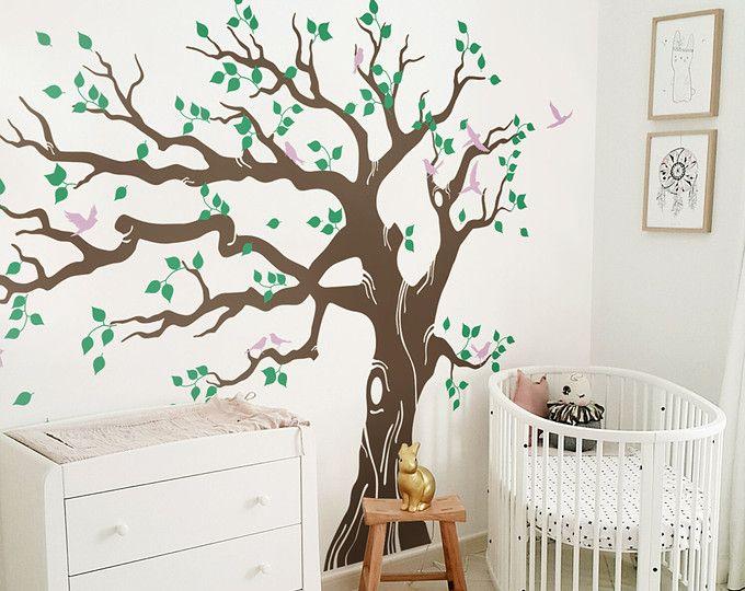 Tatuajes de pared de árbol grande, tatuajes de pared de árbol de vivero, mural árbol, etiqueta de la pared del vinilo, etiqueta engomada - MM006B de la pared