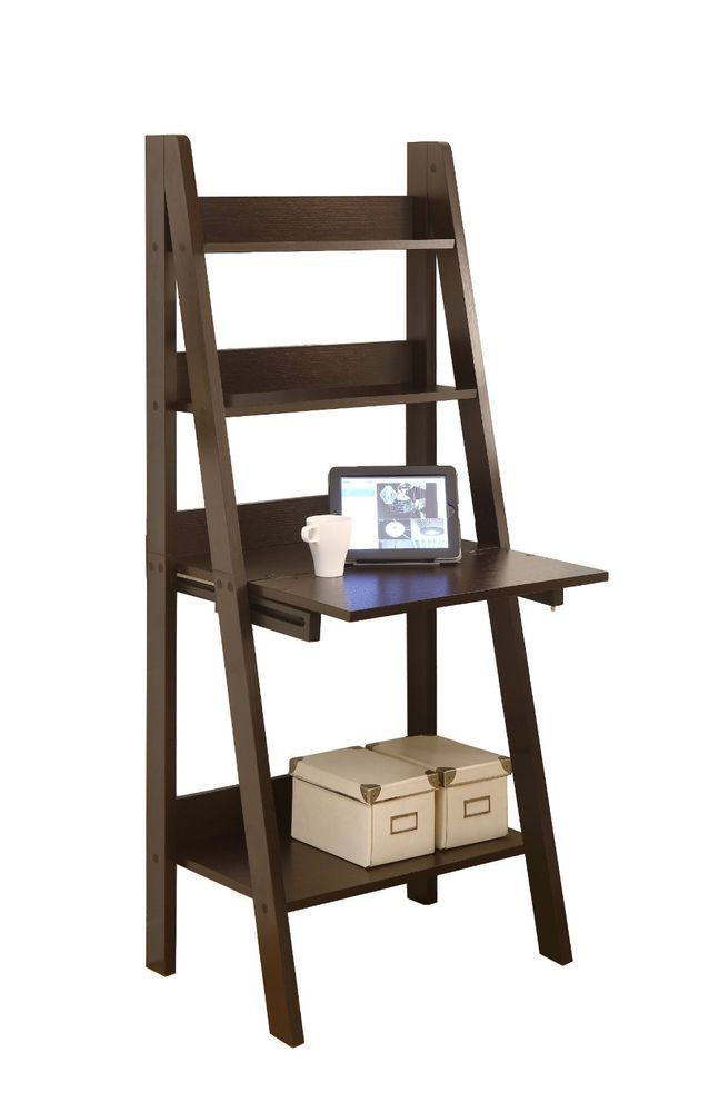 Monarch Specialties High Ladder Bookcase with a Drop-Down Desk, 61-Inch, BROWN