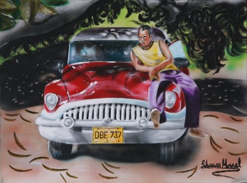 One Mile to Havana  This is another piece in the Urban Moment Series that was inspired by traveling to Cuba. The iconic classic cars and warm climate is something that I was eager to paint upon my return.