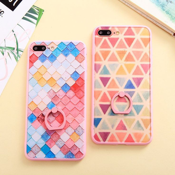 Ring Holder Phone Case For iphone 7 Case For iphone 6 6s 6plus 7plus Colorful Rhombic Pattern Phone Cases