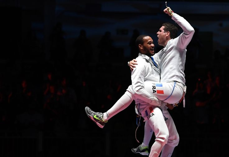 The moment of victory - the French épée team celebrates after the final - Olympic Games, Rio de Janeiro