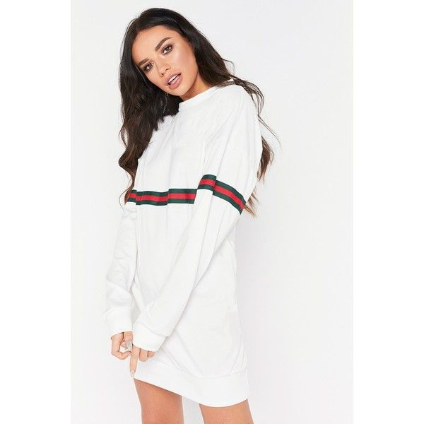 Terry White Stripe Oversized Jumper Dress (€22) ❤ liked on Polyvore featuring dresses, white color dress, white oversized dress, stripe dresses, white striped dress and oversized dresses