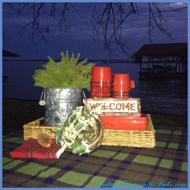 #Lakeside Living ... #CottageGreenontheLake.com #lake #picnic #dock #plaid #tartan #thermos #Aladdin