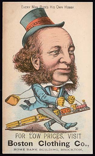 """William Henry Vanderbilt (1821 - 1885) became president of the New York Central railroad after his father, Cornelius, died in 1877 and expanded the railroad empire through acquisitions to become known as one of the """"robber barons"""" and was quoted as saying """"THE PUBLIC BE DAMNED.""""   (corporate greed that led to the American Progressive movement)"""