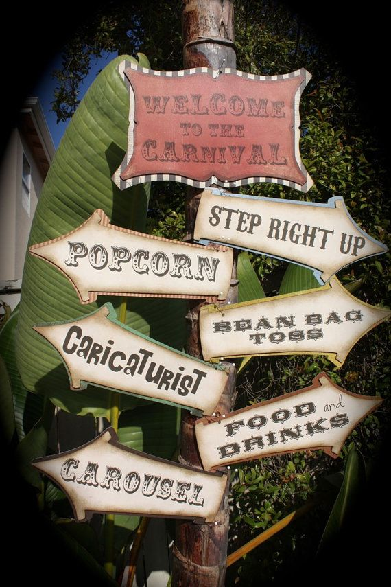 Vintage CARNIVAL/CIRCUS  Signs by kutekardz on Etsy, $35.00