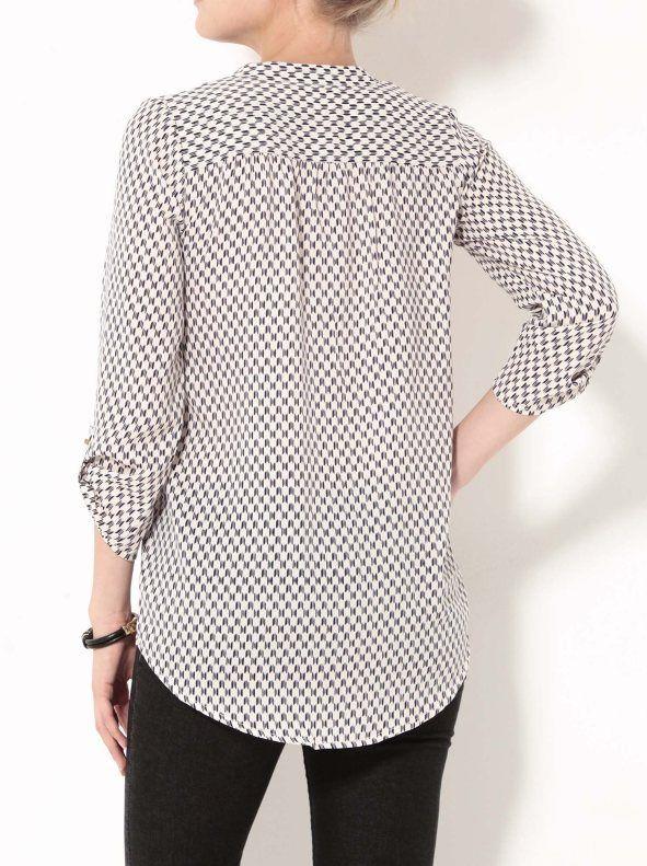 Blusa mujer manga larga estampada tejido crepe