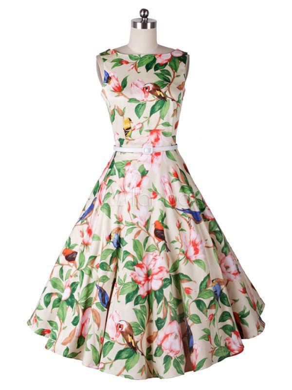 Multi Color Floral Chiffon Vintage Dress for Women