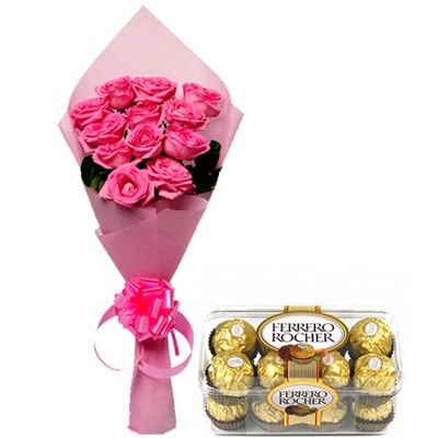 Gift a bunch of 12 stunning pink roses, packed neatly in pink wrapping paper with a pink ribbon bow tied around it, to your dear one, along with 200 gms Ferrero Rocher chocolate. The gift is bound to make their day all the more special and also helps to make sweet memories for your dear ones. It is just a perfect and the best present to get a sweet smile on your dear one's face. http://www.fnp.com/flowers/from-my-heart/--clI_2-cI_1123-pI_23664-i_23216.html