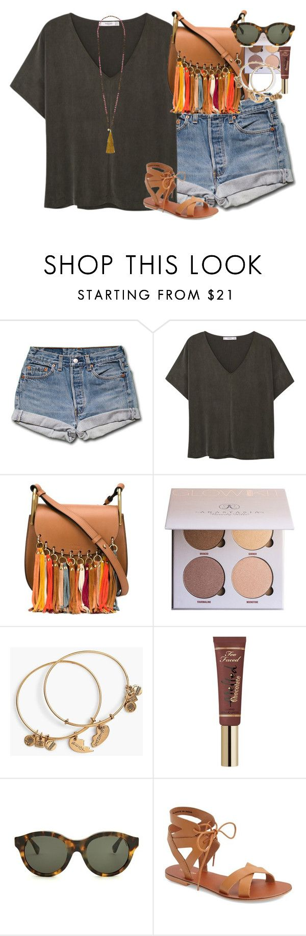 """""""at the pool !!"""" by smbprep ❤ liked on Polyvore featuring MANGO, Chloé, Alex and Ani, Too Faced Cosmetics, RetroSuperFuture, Topshop and French Connection"""