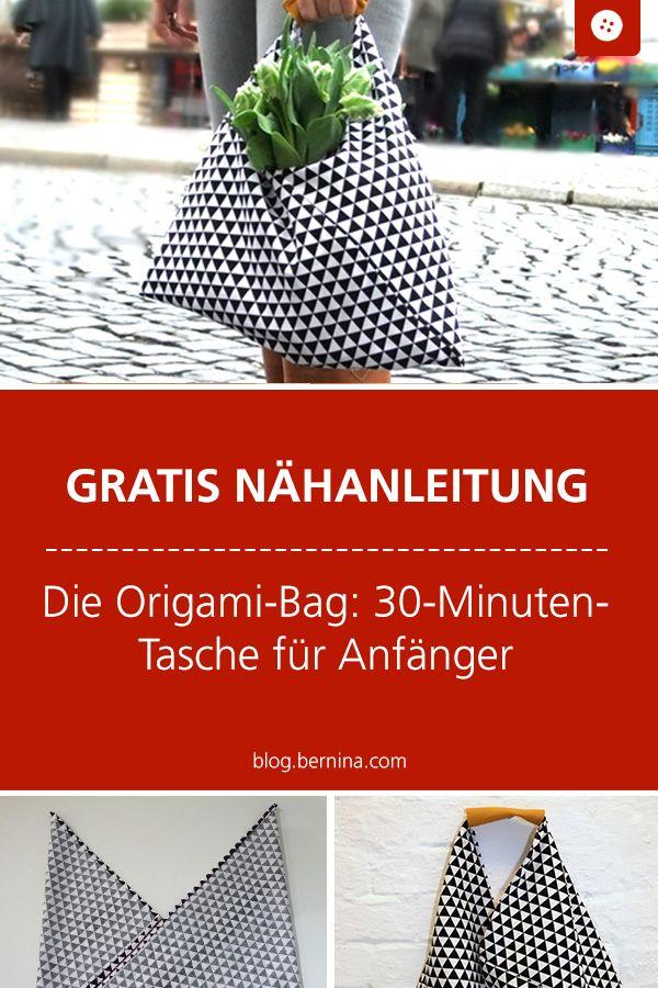 Kostenloses Schnittmuster und Nähanleitung für eine Origami-Bag: 30-Minuten-Ta…