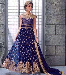 Buy navy  blue net embroderied semi stitiched salwar with dupatta party-wear-salwar-kameez online