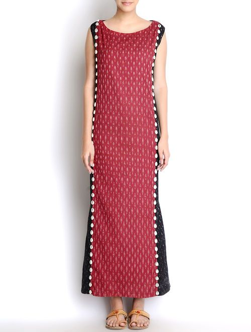 Black-Red Shell Embellished Handloom Ikat Cotton Maxi Dress