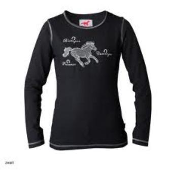 Van 22,95 Euro voor 17,50 Euro  Red Horse FLASH Glitter shirt, zwart, 164, Superleuk bling bling meisjesshirt voor coole paardenmeiden! Aangesloten model t-shirt met zilveren borduursels en een paardenprint compleet bestaande uit glittersteentjes. Zeer luxe print.    Kleur Zwart. Maat 164 (valt normaal tot iets kleiner).    3x op voorraad! Op=Op!