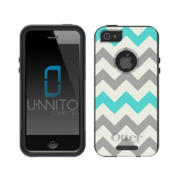 Otterbox iPhone 5 Commuter Series Black Chevron - Grey and Teal on Etsy, $39.99