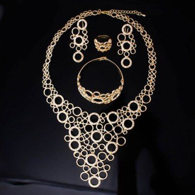 Chic Hollow Out Round Rhinestone Necklace Bracelet Ring and A Pair of Earrings For Women #CLICK! #clothing, #shoes, #jewelry, #women, #men