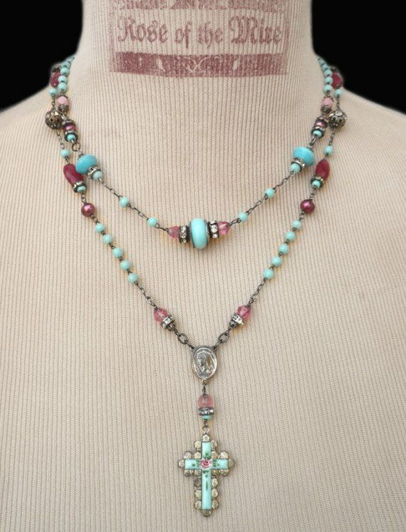 Paris Blues..Vintage French Guilloche Rhinestone by RoseoftheMire