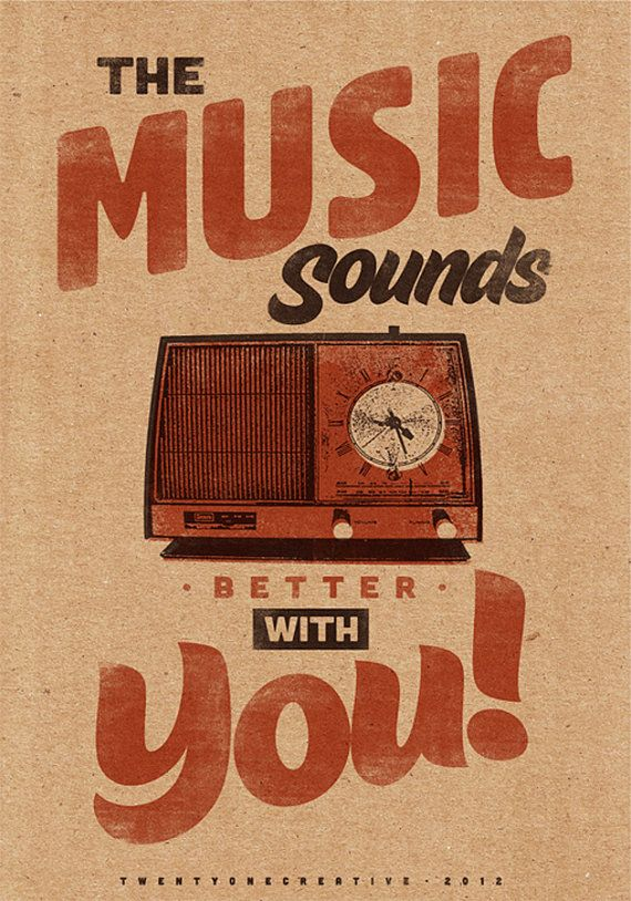 "Music Sounds Better With You - 13"" x 19"" Vintage Poster - Retro Art Print"