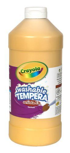 Crayola Tempera Washable Paint 32-Ounce Plastic Squeeze Bottle, Peach by Crayola. $9.99. Kids love to paint, can be used on almost any surface Great for arts and crafts and school projects. Painting develops child's fine motor skills and teaches color mixing and blending. Painting is enjoyed by children of all ages. Washability makes fun with colors and clean-up simpler than ever. Trusted brand delivers convenience and ease of use. From the Manufacturer                Crayola Pr...