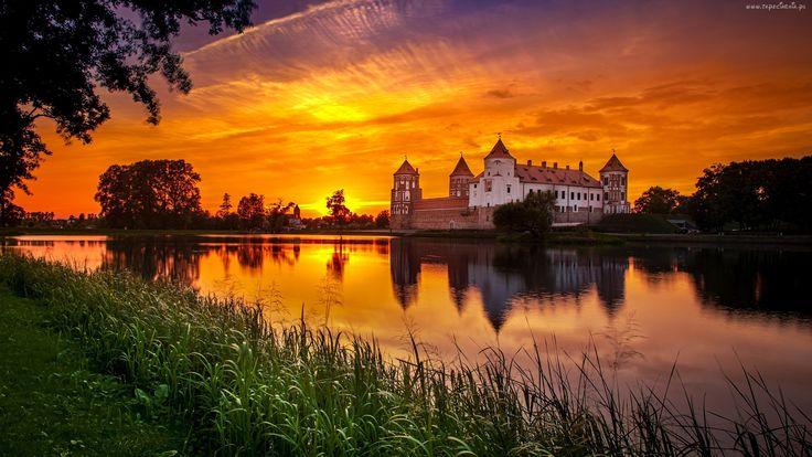 Zachód, Słońca, Jezioro, Zamek