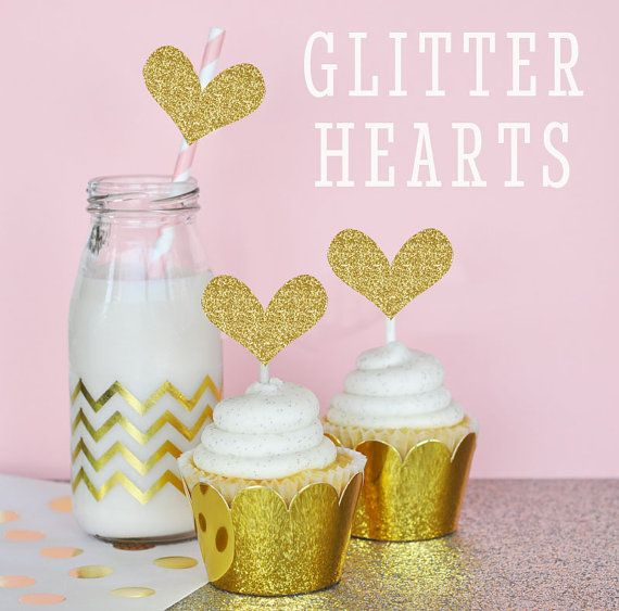 Gold Cupcake Toppers DIY Gold Glitter Heart Stickers  by ModParty