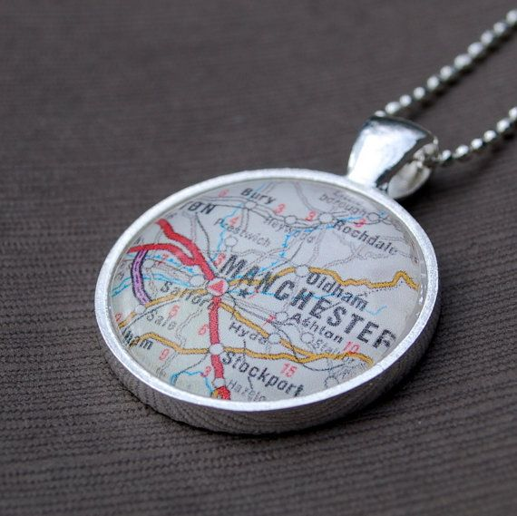 Manchester UK. I'm not really into jewellery, but it has all the places on it that are important to me. Stalybridge, Ashton, Stockport and of course Manchester.