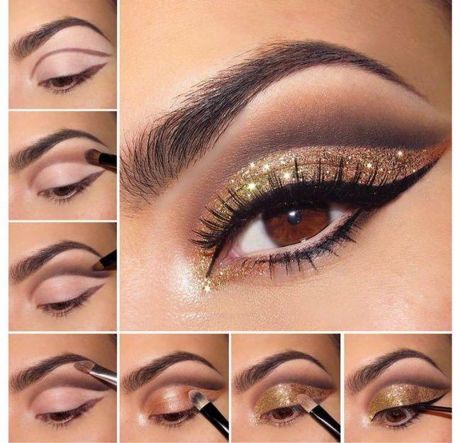 Złoty makijaż oczu na sylwestra - 15 niezwykłych propozycji