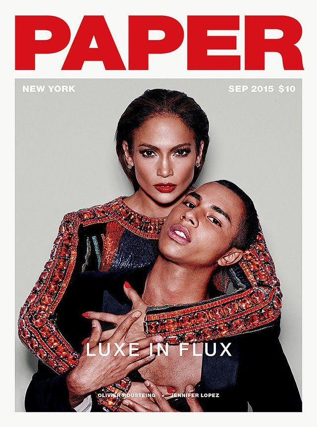 JLo and Olivier Rousteing on the cover of Paper Magazine #LuxeinFlux