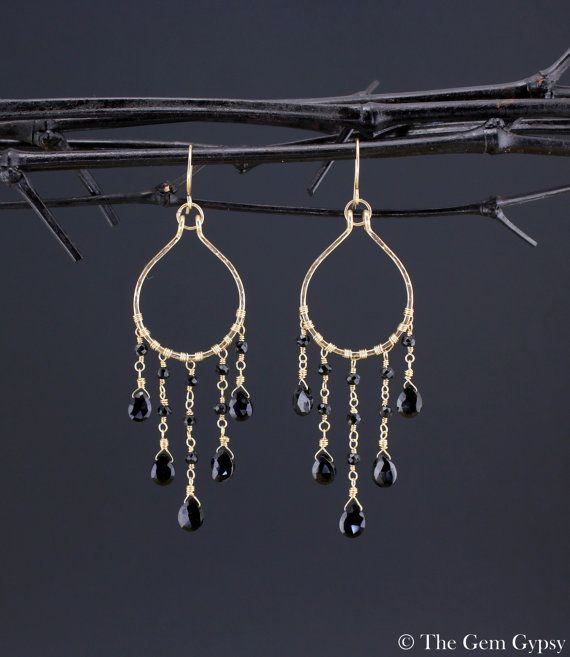 Luxury Bohemian Black Spinel EarringsGold w. Black by TheGemGypsy