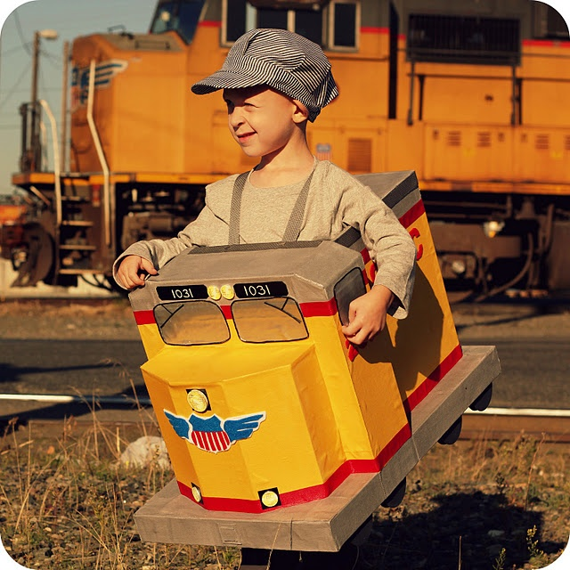 Union Pacific Diesel Engine halloween costume for my very specific 4-yr-old train-lover.  It was a labor of love.