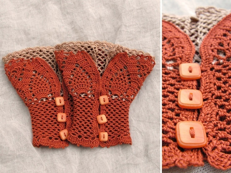 open work layered wrist warmers cuffs - pattern via etsy