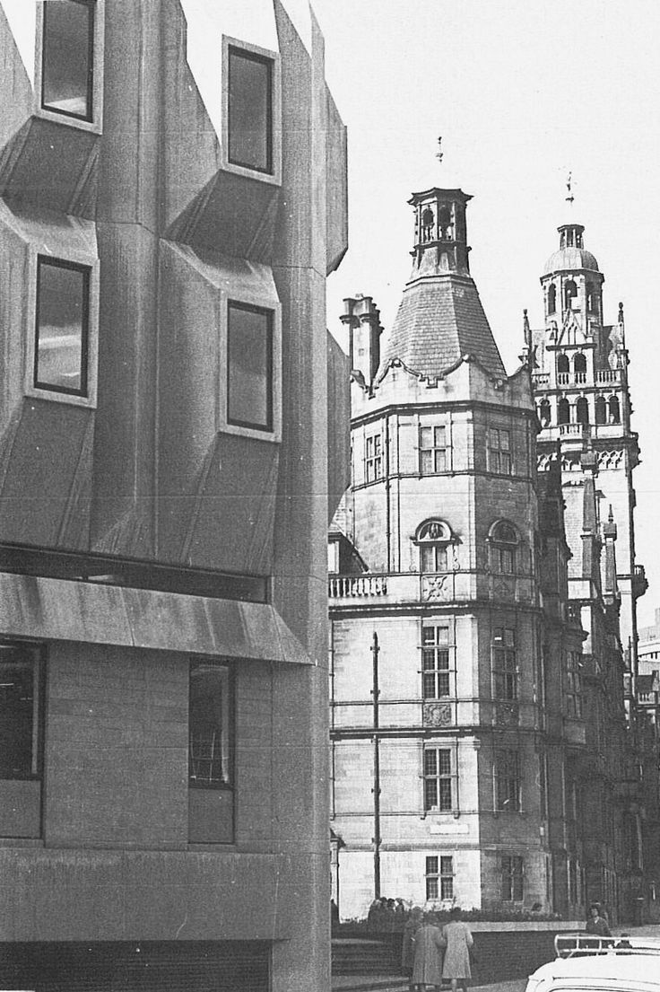Sheffield town hall & extension (egg box), late 1970's