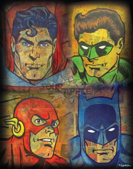 Justice League, Superman, Batman, Flash, Green Lantern, DC Superhero Artwork, Signed and Numbered 11x14 Print by David Lizanetz