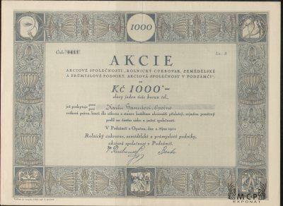 A0365 Muzeum cennych papiru / Rolnický cukrovar, zemědělské a průmyslové podniky, akciová společnost v Podzámčí, Akcie na jméno (Namensaktie) 1.000 Kč Lit. A Podzámčí u Opočna 02.10.1922   AZP3CZ162