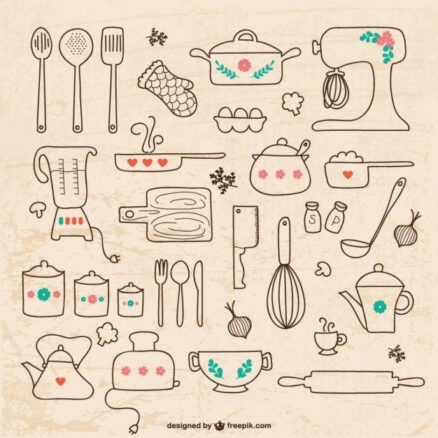 Utensilios de cocina dibujos Vector Gratis