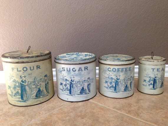 Antique Vintage Old 1920s Dutch Tin Canister Set Of 4 With Lid Flour Sugar