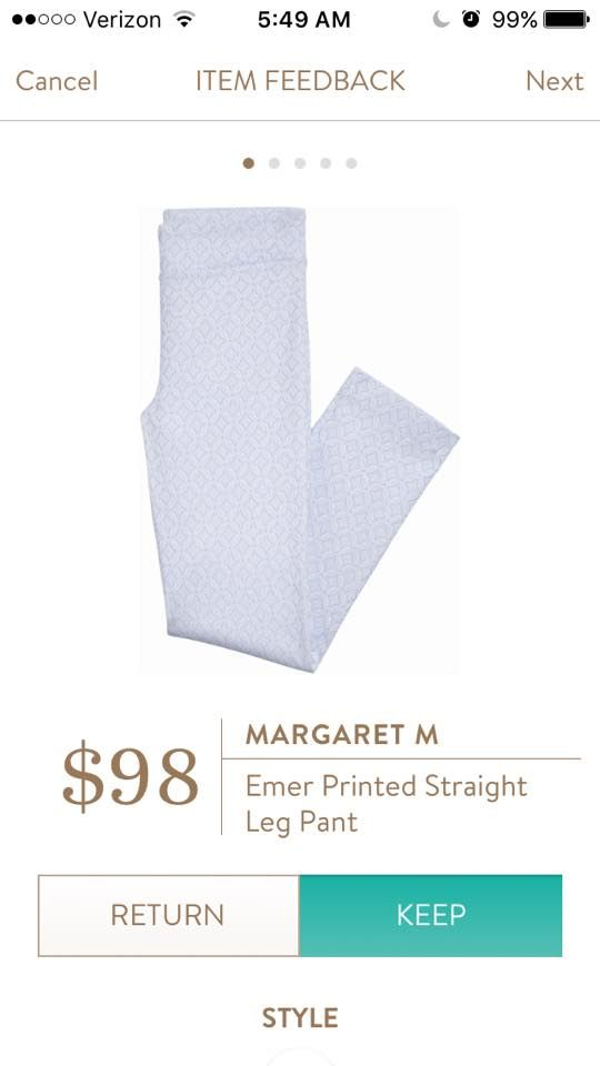 Received in my March Fix - Margaret M Emer Printed Straight Leg Pant in Light Blue Jacquard Print