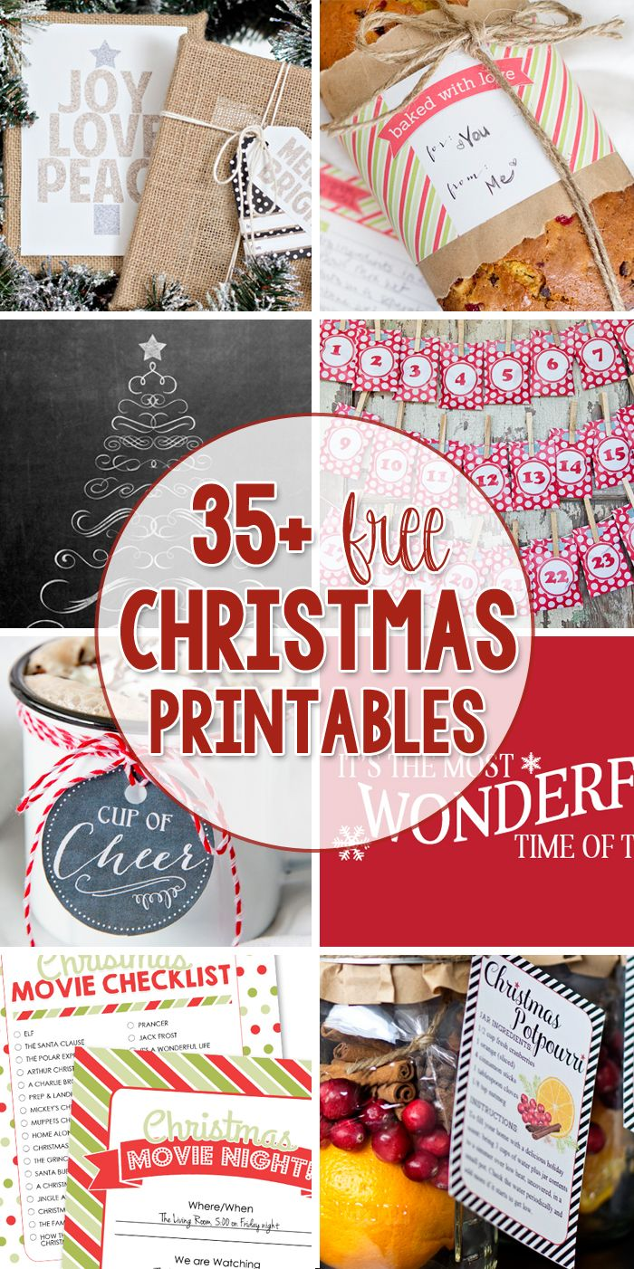 Tons of Free Christmas Printables, for your Christmas decor, gift ideas, and gift tags!