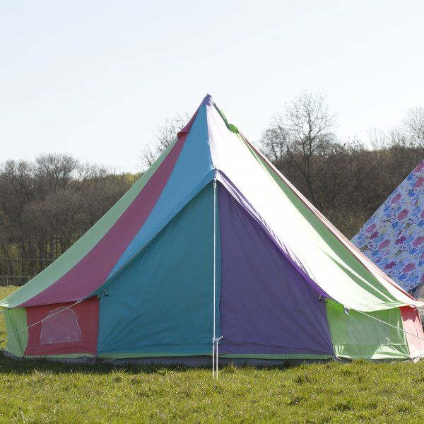 #Rainbow canvas bell tent for a Glamping Birthday Themed Party